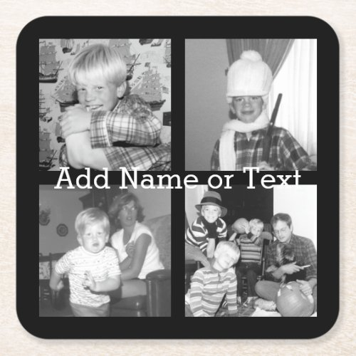 Create an Instagram Collage with 4 photos _ black Square Paper Coaster