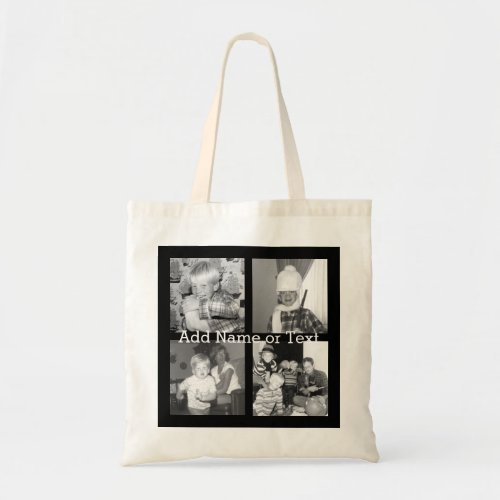 Create an Instagram Collage with 4 photos _ black Tote Bag