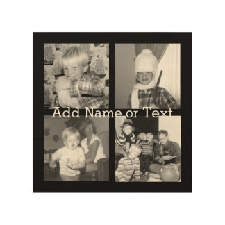 Create an Instagram Collage with 4 photos - black Wood Print