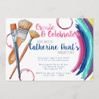Create and Celebrate Paint and Sip Party Invite