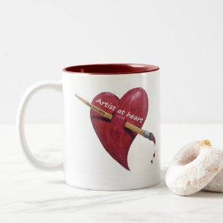 Create art with heart artist coffee mug