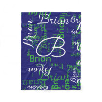 create boy name typography blue fleece blanket