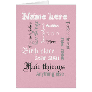 Create chalk board word cloud card, pink template