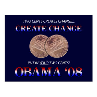 Create Change with Obama Post Card