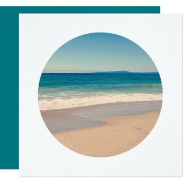 Beach Themed Create Circle Photo White Border Card