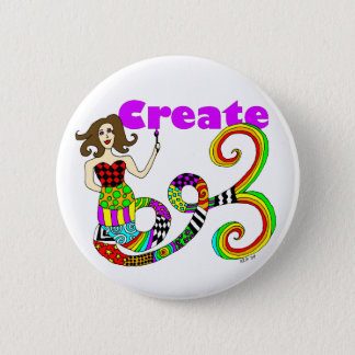 Create Colorful Mermaid Muse Round Button