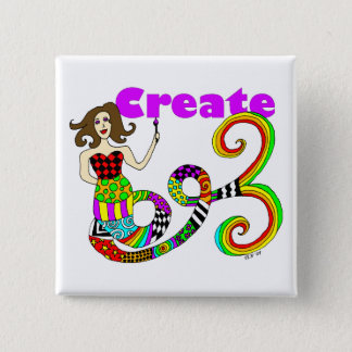 Create Colorful Mermaid Muse Square Pinback Button
