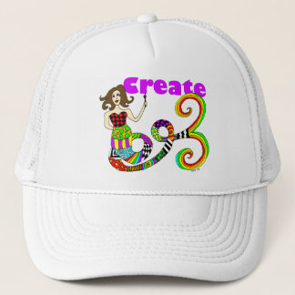 Create Colorful Mermaid Muse Trucker Hat