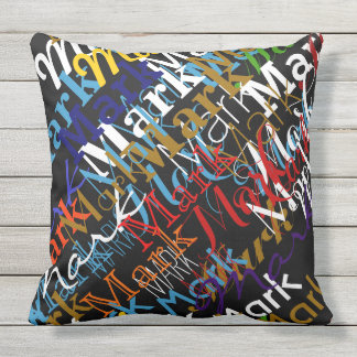 create colorful names pattern . custom outdoor pillow