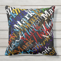 create colorful names pattern . custom throw pillow