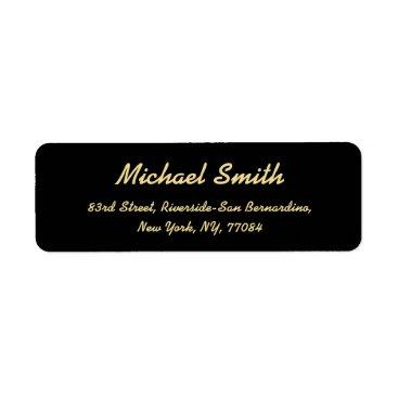 Professional Business Create Custom Black Golden Elegant Return Address Label