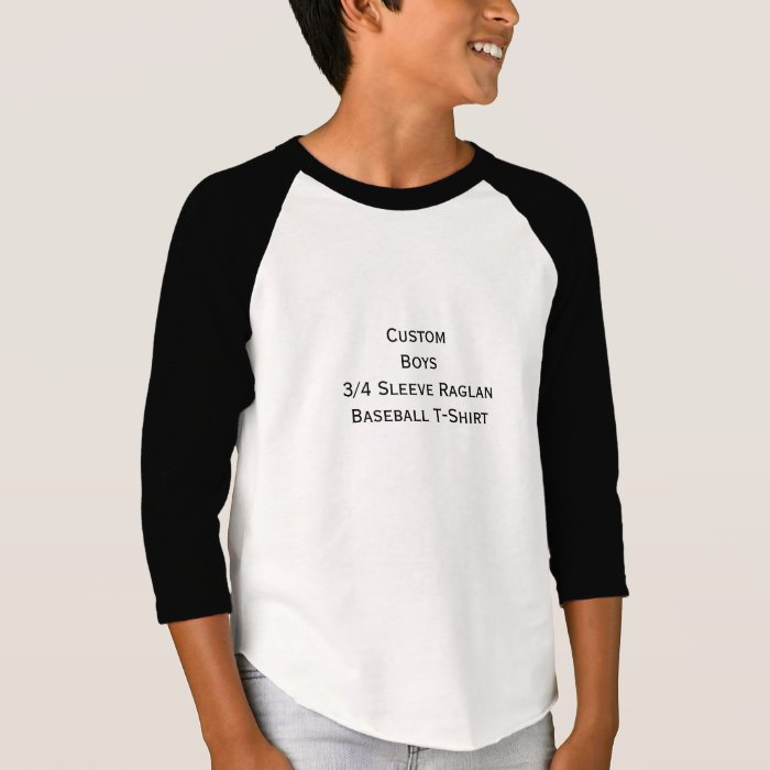 create custom boys 3 4 sleeve raglan baseball tee zazzle