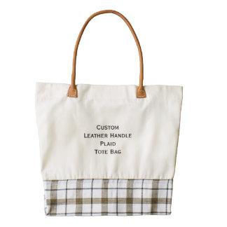 Create Custom Cool Leather Handle Plaid Tote Bag Zazzle HEART Tote Bag