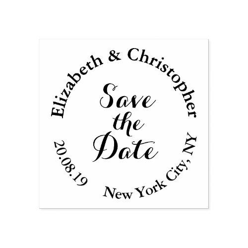 Create Custom Elegant Modern Save the Date Wedding Rubber Stamp