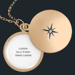 """Create Custom Gold Finish Photo Locket Necklace<br><div class=""""desc"""">Create your own custom, personalised, gold finish metal round photo locket necklace. Simply click """"Customize It"""" to add your photos and text! While you add/design, you&#39;ll be able to see a preview of your creation, throughout. TIP 1: If you add text, do go through the list of fonts. There are...</div>"""