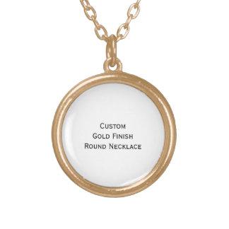 Create Custom Gold Finish Round Photo Necklace