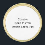 "Create Custom Gold Plated Round Photo Lapel Pin<br><div class=""desc"">Create your own custom, personalized, gold plated, brass metal, round lapel pin, to wear on jackets or pin on to ties, hats, or bags. Simply click ""Customize It"" to add your photos, designs and text to the pin. While you add/design, you&#39;ll be able to see a preview of your creation,...</div>"