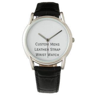 Create Custom Mens Black Leather Strap Wrist Watch