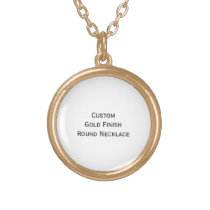 Create Custom Personalized Gold Finish Round Photo Gold Finish Necklace