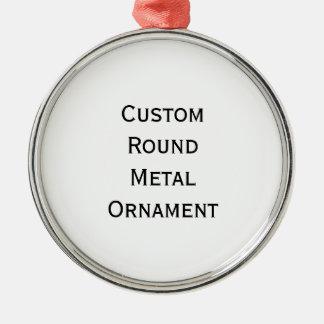 Create Custom Round Silver Colored Metal Ornament