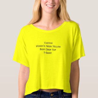 Create Custom Womens Neon Yellow Boxy Crop Top Tee