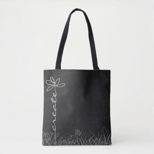 Create daisy doodle art on black chalkboard tote bag