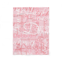 create feminine name typography pink fleece blanket