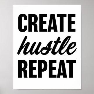 Create Hustle Repeat Quote Poster