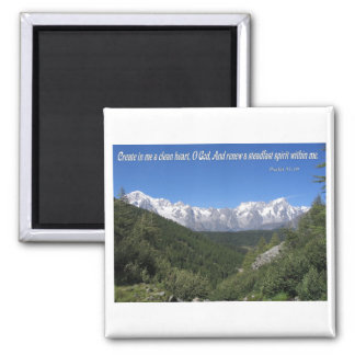 Create In Me A Clean Heart, Oh God Psalm 51:10 2 Inch Square Magnet