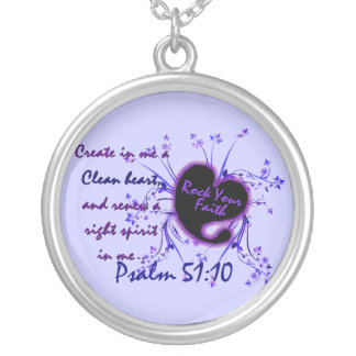 Create In Me A Clean Heart Round Pendant Necklace