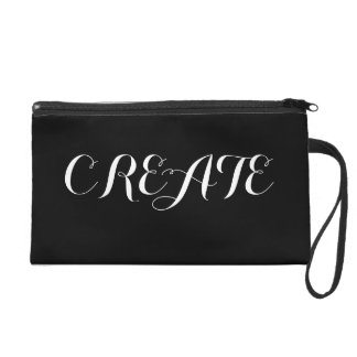 Create Inspirational Black White Girly Quote Wristlet Purse