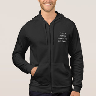 Create Mens Custom Fleece Sleeveless Zip Hoodie