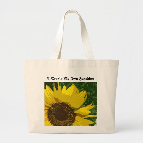 Create My Own Sunshine Yellow Sunflower Floral Large Tote Bag