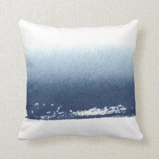 Create Own Blue White Watercolor Sea Beach Throw Pillow