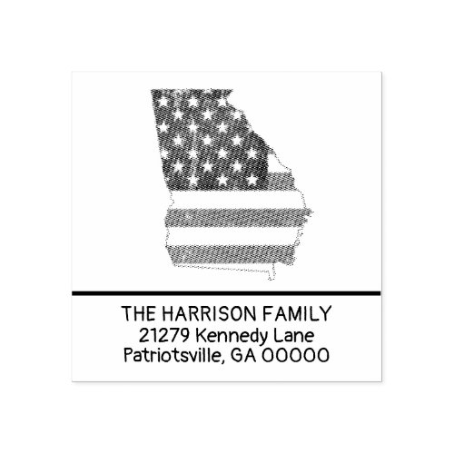 Create Own Family Name Georgia Return Address Rubber Stamp