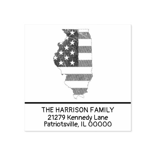 Create Own Family Name Illinois Return Address Rubber Stamp