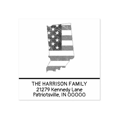 Create Own Family Name Indiana Return Address Rubber Stamp
