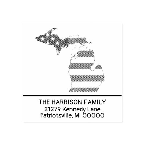 Create Own Family Name Michigan Return Address Rubber Stamp