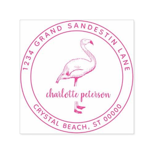 Create Own Pink Flamingo Beach Return Address Self_inking Stamp