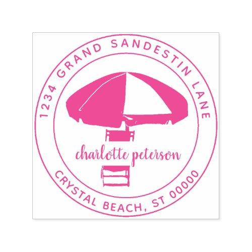 Create Own Tropical Beach Umbrella Return Address Self_inking Stamp
