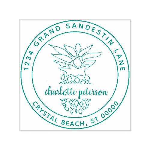 Create Own Tropical Pineapple Return Address Self_inking Stamp