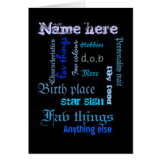 Create own word cloud card with template - BLU/BLK