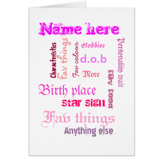 Create own word cloud card with template - PINKS