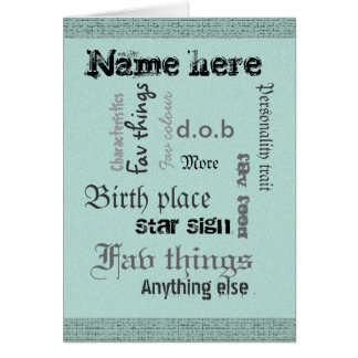 Create own word cloud card with template - vintage