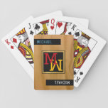 "create playing cards / monogram (name   initial)<br><div class=""desc"">A simple and modern design with your initial in a square frame (monogram)...  and with your name on the corner,  on a wood like background</div>"