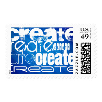 Create; Royal Blue Stripes Postage Stamp