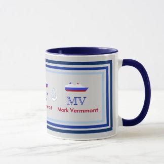 create ship captain personalized blue mug