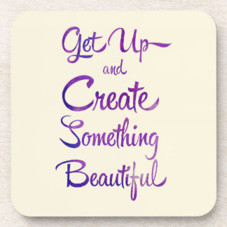 Create Something Beautiful Purple Beverage Coaster
