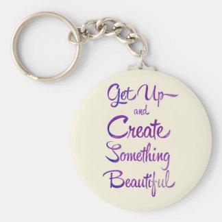 Create Something Beautiful Purple Keychain