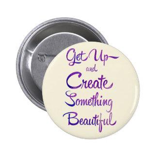 Create Something Beautiful Purple Pinback Button